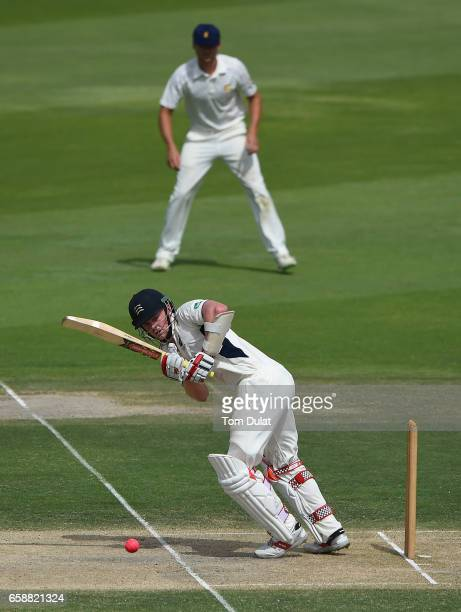 Sam Robson of Middlesex bats during day three of the Champion County match between Marylebone Cricket Club and Middlesex at Sheikh Zayed stadium on...