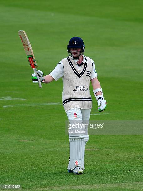 Sam Robson of Middlesex celebrates after reaching his century during day one of the LV County Championship match between Middlesex and Durham at...