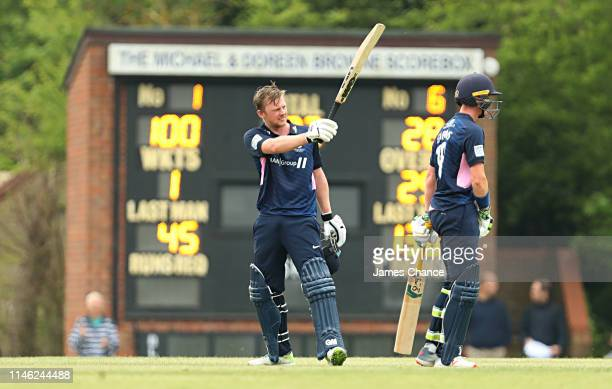 Sam Robson of Middlesex celebrates his century during the Royal London One Day Cup match between Middlesex and Somerset at Radlett cricket club on...
