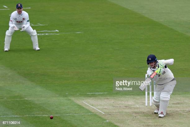 Sam Robson of Middlesex guides the ball towards the boundary at Lords Cricket Ground on April 21 2017 in London England