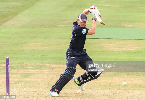 Sam Robson of Middlesex hits out during the Royal London One Day Cup match between Middlesex and Glamorgan at Lords Cricket Ground on August 17 2015...