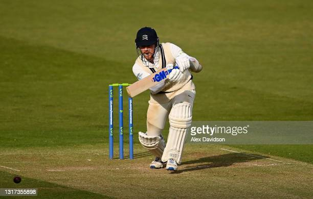 Sam Robson of Middlesex hits runs during Day Two of the LV= Insurance County Championship match between Middlesex and Gloucestershire during at...