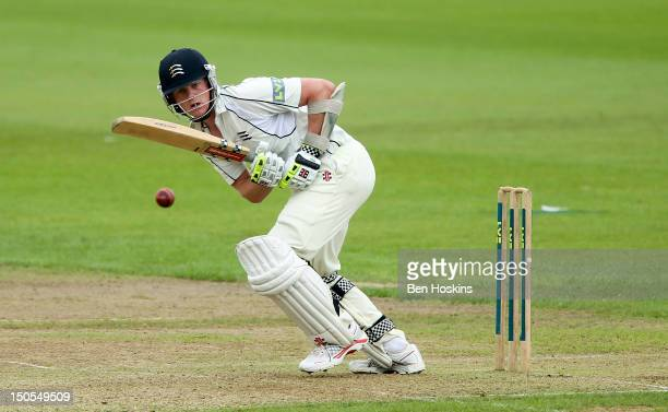Sam Robson of Middlesex in action during the LV County Championship match between Warwickshire and Middlesex at Edgbaston on August 21 2012 in...