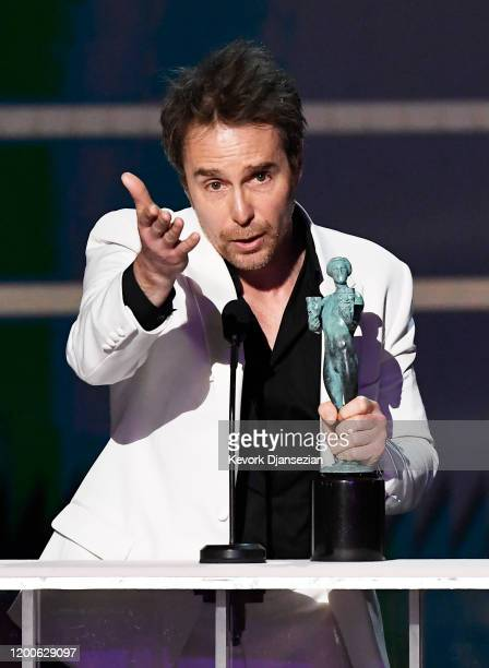 """Sam Rockwell accepts the Male Actor in a TV Movie or Limited Series award for """"Fosse/Verdon"""" onstage during the 26th Annual Screen ActorsGuild..."""