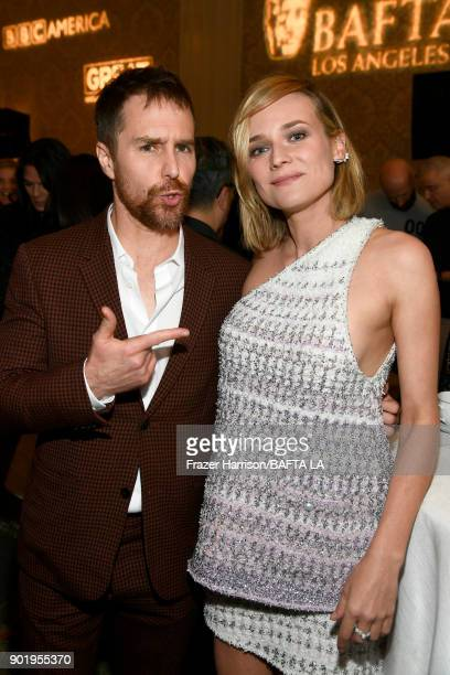 Sam Rockwell and Diane Kruger attend The BAFTA Los Angeles Tea Party at Four Seasons Hotel Los Angeles at Beverly Hills on January 6 2018 in Los...