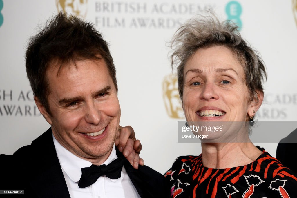 Sam Rockwell (L) and Frances McDormand pose in the press room during the EE British Academy Film Awards (BAFTAs) held at Royal Albert Hall on February 18, 2018 in London, England.