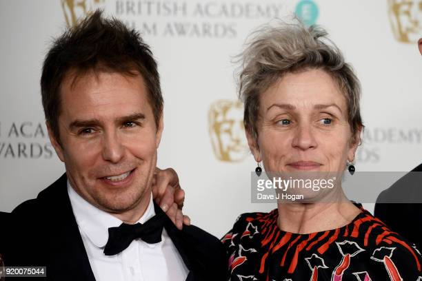 Sam Rockwell and Frances McDormand pose in the press room during the EE British Academy Film Awards held at Royal Albert Hall on February 18 2018 in...