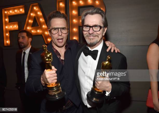 Sam Rockwell and Gary Oldman attend the 2018 Vanity Fair Oscar Party hosted by Radhika Jones at Wallis Annenberg Center for the Performing Arts on...