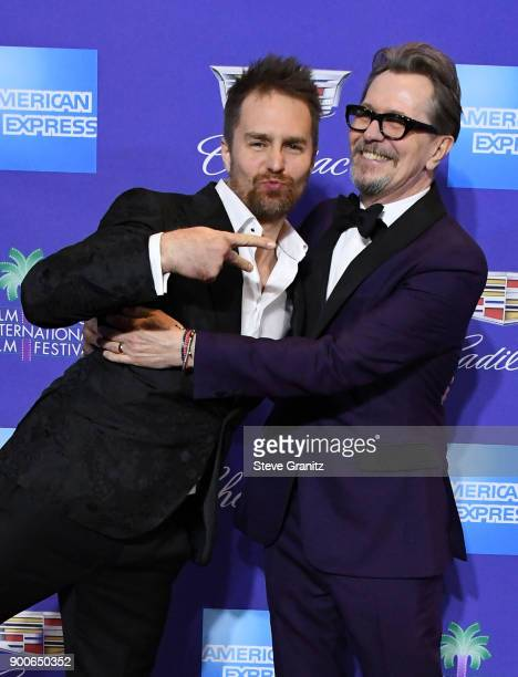 Sam Rockwell and Gary Oldman attend the 29th Annual Palm Springs International Film Festival Awards Gala at Palm Springs Convention Center on January...