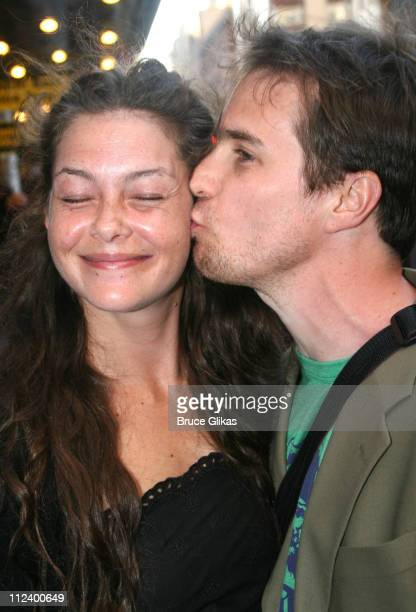 Sam Rockwell and girlfriend during 'Three Days of Rain' Broadway Opening Night Arrivals at Bernard B Jacobs Theatre in New York City New York United...