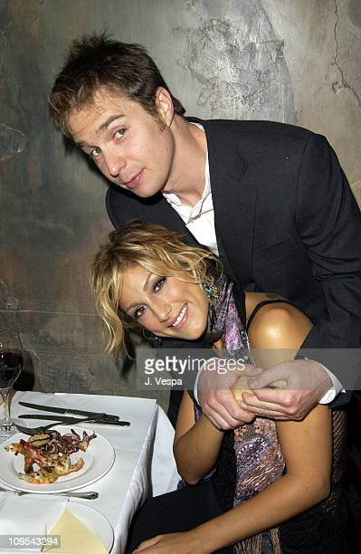 Sam Rockwell and Jennifer Esposito during 2002 Toronto Film Festival Welcome to Collinwood at Sotto Sotto Restaurant in Toronto Ontario Canada