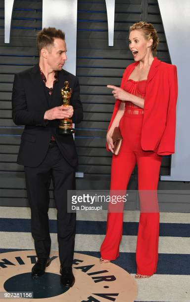 Sam Rockwell and Leslie Bibb attend the 2018 Vanity Fair Oscar Party hosted by Radhika Jones at Wallis Annenberg Center for the Performing Arts on...