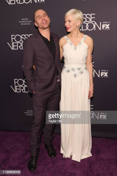 """Sam Rockwell and Michelle Williams attends the premiere of """"Fosse/Verdon"""" at the Gerald Schoenfeld Theatre on April 8, 2019 in New York City."""