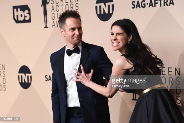 Sam Rockwell and Sarah Silverman attend 24th Annual Screen Actors Guild Awards - Press Room on January 21, 2018 in Los Angeles, California.