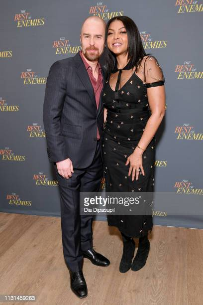 Sam Rockwell and Taraji P Henson attend a photo call for 'The Best Of Enemies' on March 17 2019 in New York City