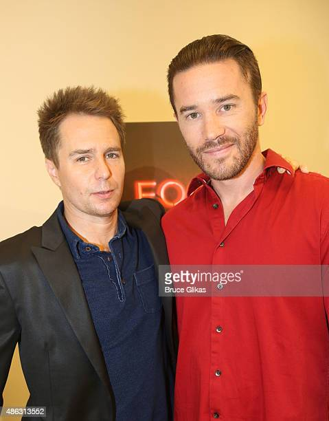 Sam Rockwell and Tom Pelphrey pose at a photocall for the Sam Shepard broadway revival on of 'Fool For Love' at The MTC Theater Studios on September...