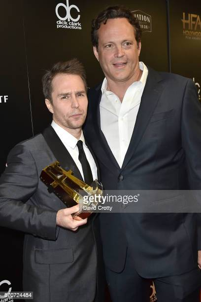 Sam Rockwell and Vince Vaughn attend the 21st Annual Hollywood Film Awards Backstage on November 5 2017 in Beverly Hills California