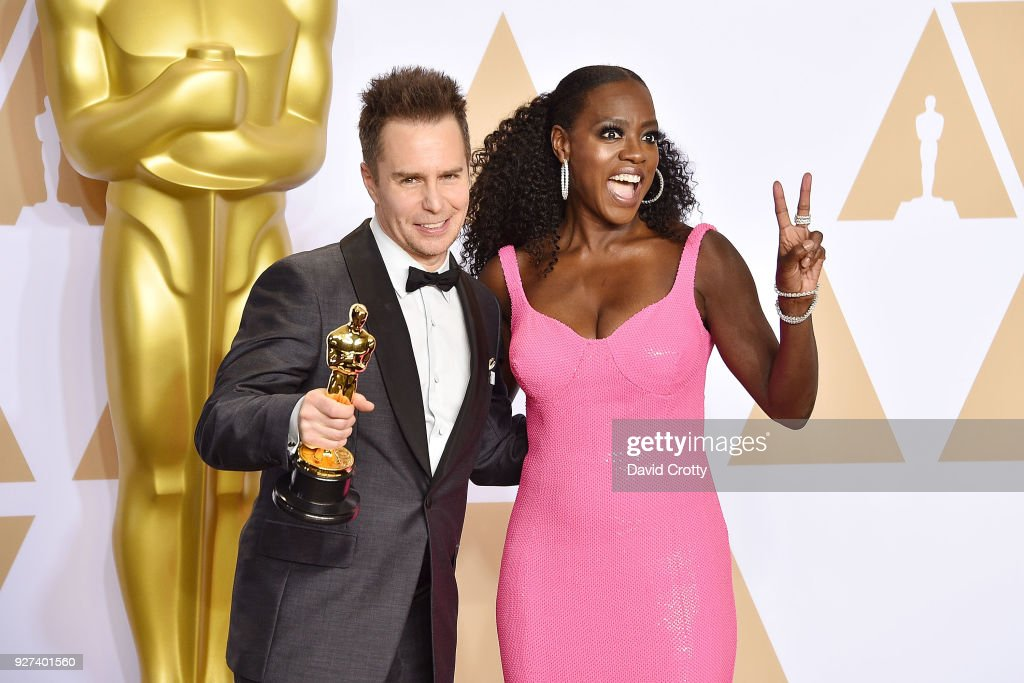 Sam Rockwell and Viola Davis attend the 90th Annual Academy Awards - Press Room on March 4, 2018 in Hollywood, California.