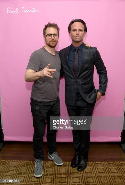 Sam Rockwell and Walton Goggins wearing Paul Smith attend Paul Smith's intimate dinner with Gary Oldman at Chateau Marmont on April 10 2018 in Los...
