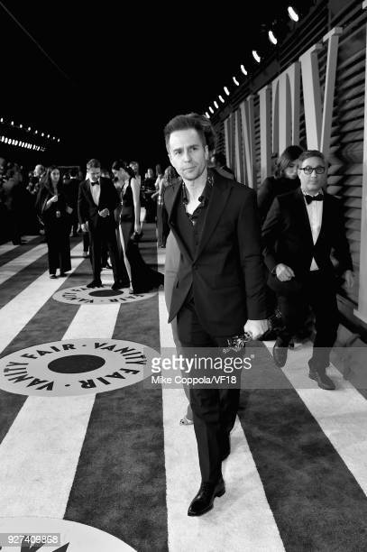 Sam Rockwell attends the 2018 Vanity Fair Oscar Party hosted by Radhika Jones at Wallis Annenberg Center for the Performing Arts on March 4 2018 in...