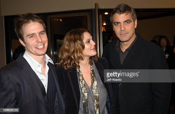 Sam Rockwell Drew Barrymore and George Clooney during Confessions of a Dangerous Mind Premiere at Mann Bruin Theatre in Westwood California United...