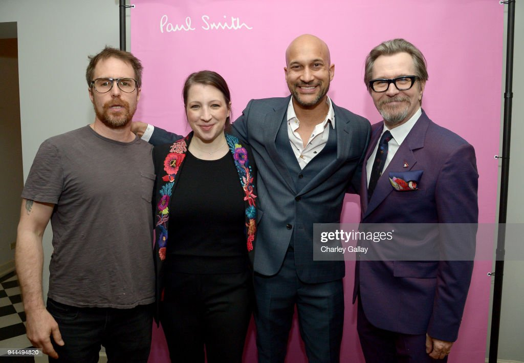 Sam Rockwell, Elisa Pugliese, Keegan-Michael Key, and Gary Oldman, wearing Paul Smith, attend Paul Smith's intimate dinner with Gary Oldman at Chateau Marmont on April 10, 2018 in Los Angeles, California.