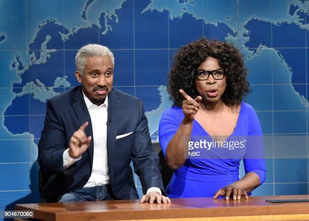 LIVE 'Sam Rockwell' Episode 1735 Pictured Chris Redd as Stedman Graham Leslie Jones as Oprah Winfrey during 'Weekend Update' in Studio 8H on Saturday...