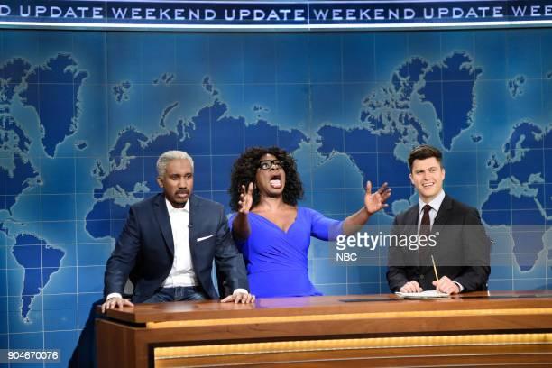 LIVE 'Sam Rockwell' Episode 1735 Pictured Chris Redd as Stedman Graham Leslie Jones as Oprah Winfrey Colin Jost during 'Weekend Update' in Studio 8H...