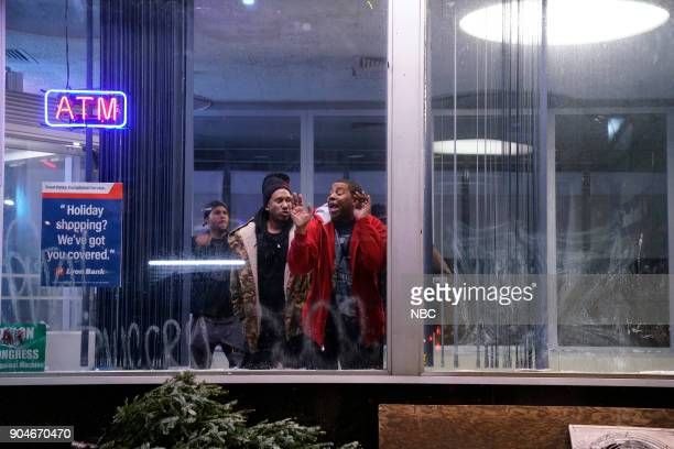 LIVE 'Sam Rockwell' Episode 1735 Pictured Chris Redd Kenan Thompson during 'ATM' on Saturday January 13 2018