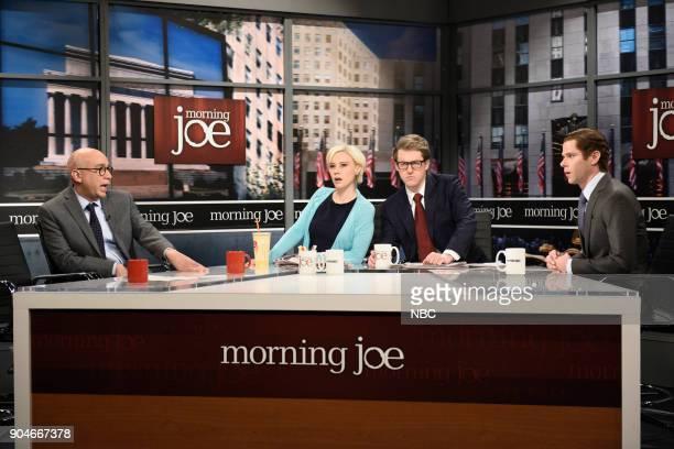 LIVE 'Sam Rockwell' Episode 1735 Pictured Kate McKinnon as Mika Brezinski Alex Moffat as Joe Scarborough Mikey Day as Willie Geist during 'Morning...