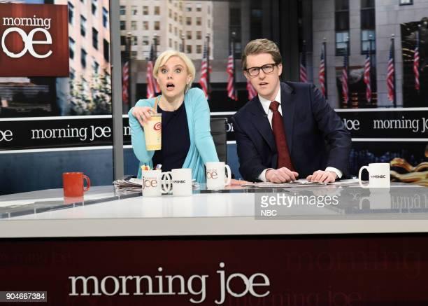 LIVE 'Sam Rockwell' Episode 1735 Pictured Kate McKinnon as Mika Brezinski Alex Moffat as Joe Scarborough during 'Morning Joe Cold Open' in Studio 8H...