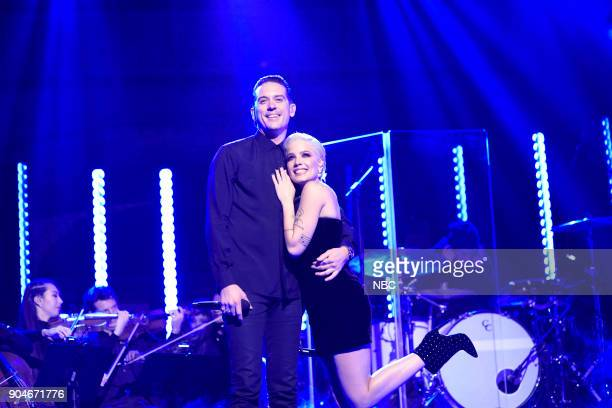 LIVE 'Sam Rockwell' Episode 1735 Pictured Musical Guest Halsey performs 'Him and I' with GEazy in Studio 8H on Saturday January 13 2018
