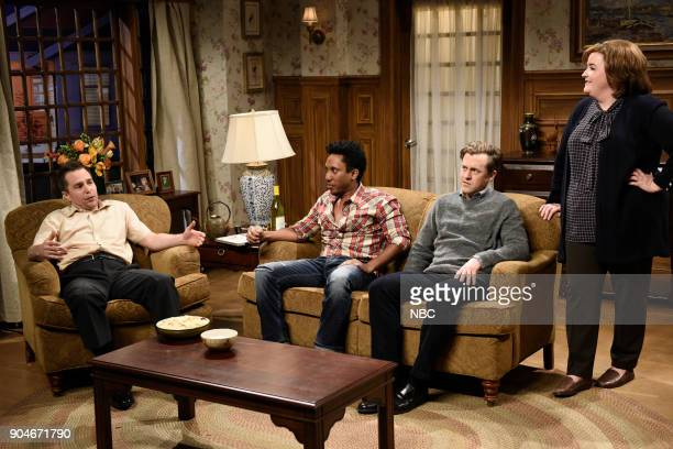 LIVE 'Sam Rockwell' Episode 1735 Pictured Sam Rockwell Chris Redd as Marcus Alex Moffat as Tim Aidy Bryant during 'Marcus Comes to Dinner' in Studio...