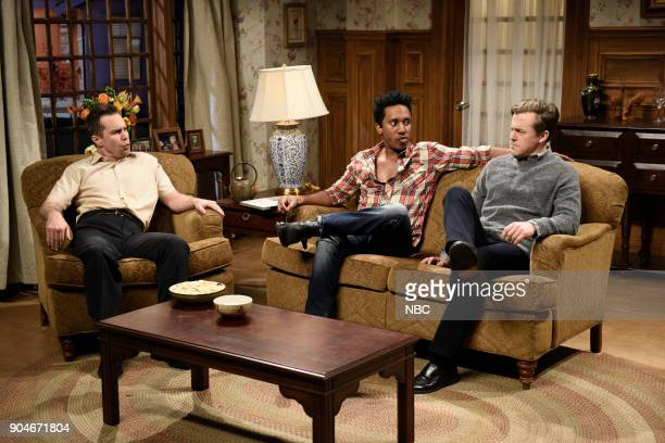 LIVE 'Sam Rockwell' Episode 1735 Pictured Sam Rockwell Chris Redd as Marcus Alex Moffat as Tim during 'Marcus Comes to Dinner' in Studio 8H on...