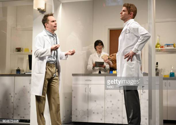 LIVE 'Sam Rockwell' Episode 1735 Pictured Sam Rockwell Melissa Villaseñor Mikey Day during 'Genetics Lab' in Studio 8H on Saturday January 13 2018
