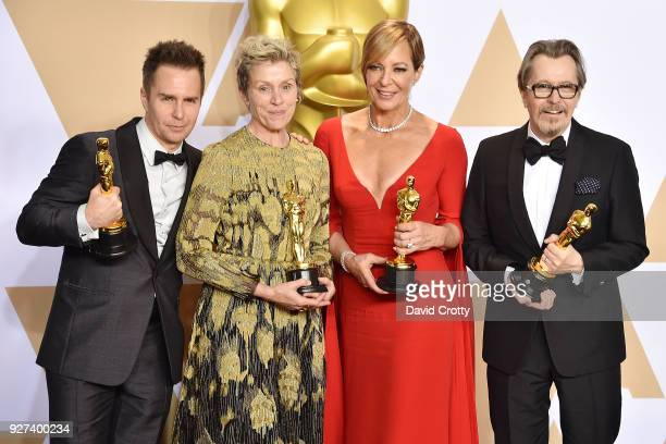 Sam Rockwell Frances McDormand Allison Janney and Gary Oldman attend the 90th Annual Academy Awards Press Room on March 4 2018 in Hollywood California