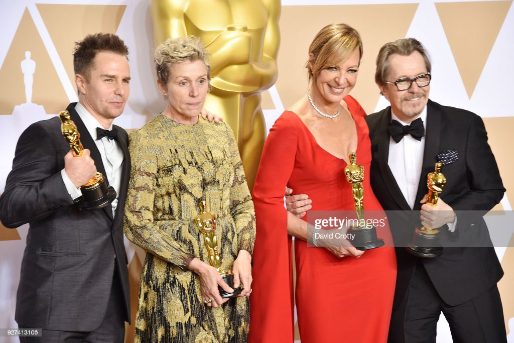Sam Rockwell, Frances McDormand, Allison Janney and Gary Oldman attend the 90th Annual Academy Awards - Press Room on March 4, 2018 in Hollywood, California.