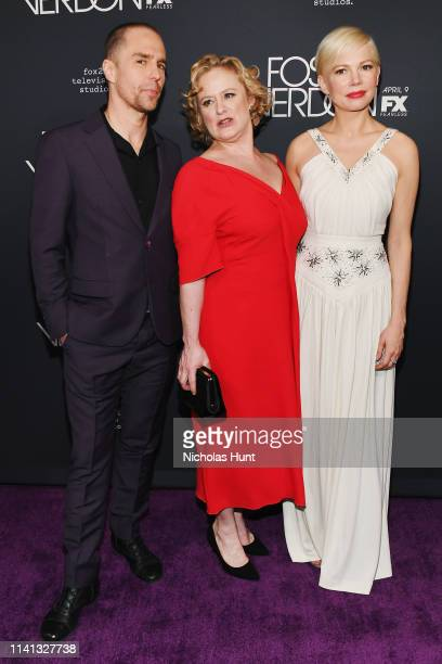 Sam Rockwell Nicole Fosse and Michelle Williams attend the New York Premiere for FX's Fosse/Verdon on April 08 2019 in New York City