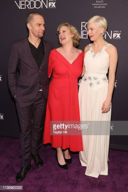 Sam Rockwell Nicole Fosse and Michelle Williams attend the premiere of Fosse/Verdon at the Gerald Schoenfeld Theatre on April 8 2019 in New York City