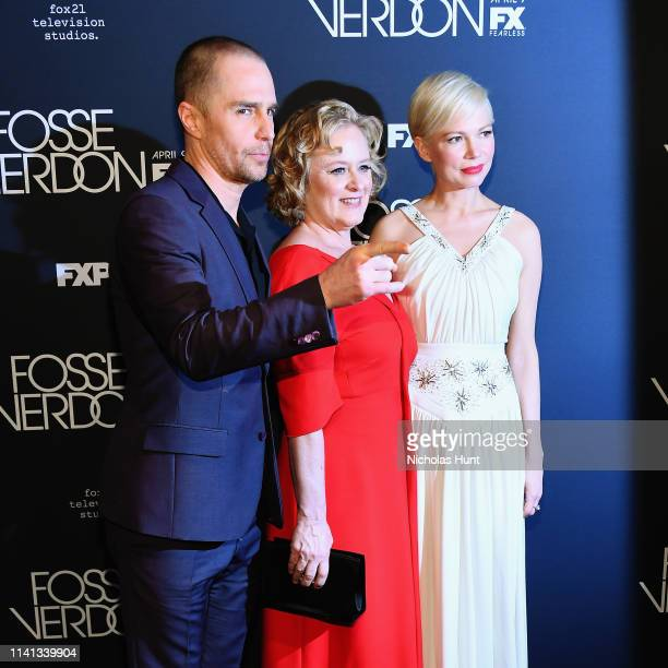 Sam Rockwell Nicole Fosse and Michelle Williams attends the New York Premiere for FX's Fosse/Verdon on April 08 2019 in New York City