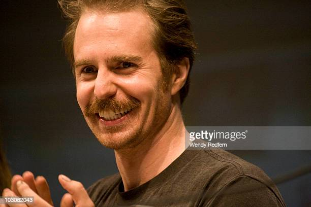 Sam Rockwell speaks at the Cowboys and Aliens panel at ComicCon on July 24 2010 in San Diego California