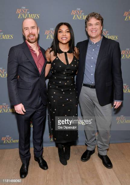 Sam Rockwell Taraji P Henson and Robin Bissell attend a photo call for 'The Best Of Enemies' on March 17 2019 in New York City