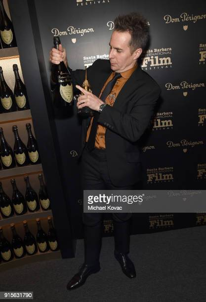 Sam Rockwell visits the Dom Perignon Lounge after receiving the American Riviera Award at The Santa Barbara International Film Festival on February 7...