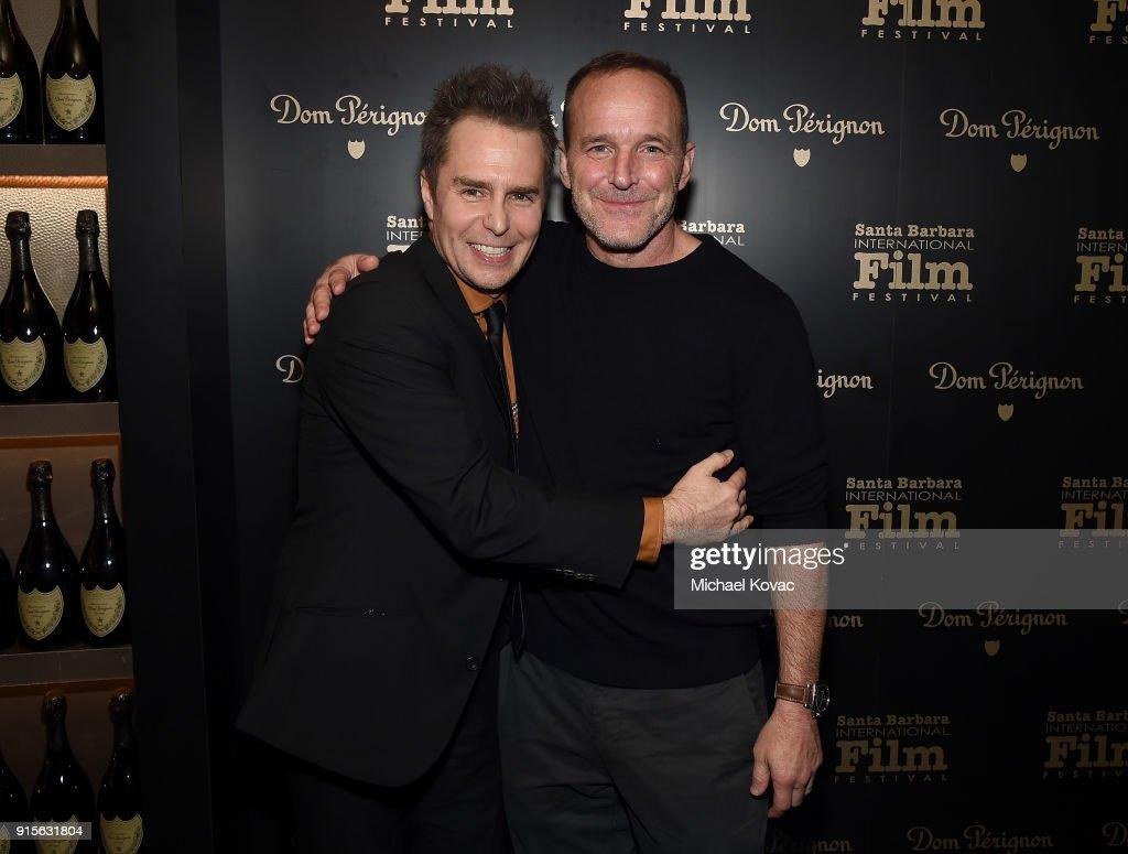 Sam Rockwell (L) visits the Dom Perignon Lounge after receiving the American Riviera Award from Clark Gregg at The Santa Barbara International Film Festival on February 7, 2018 in Santa Barbara, California.