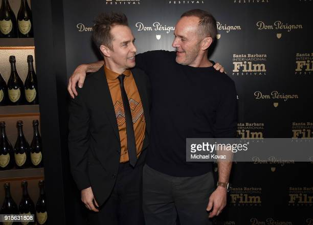 Sam Rockwell visits the Dom Perignon Lounge after receiving the American Riviera Award from Clark Gregg at The Santa Barbara International Film...