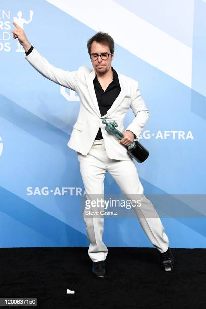 Sam Rockwell, winner of Outstanding Performance by a Male Actor in a Television Movie or Miniseries for 'Fosse/Verdon', poses in the press room...