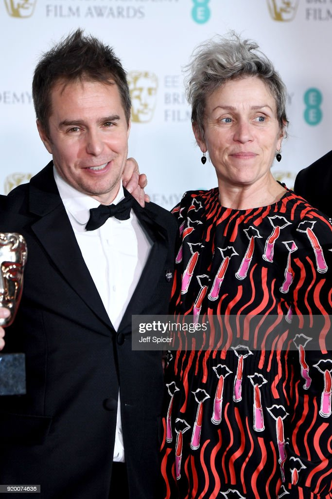 Sam Rockwell, winner of the Best Supporting Actor award and Frances McDormand, winner of the Best Actress award pose in the press room during the EE British Academy Film Awards (BAFTA) held at Royal Albert Hall on February 18, 2018 in London, England.