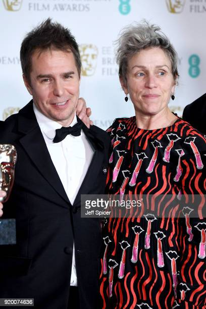 Sam Rockwell winner of the Best Supporting Actor award and Frances McDormand winner of the Best Actress award pose in the press room during the EE...