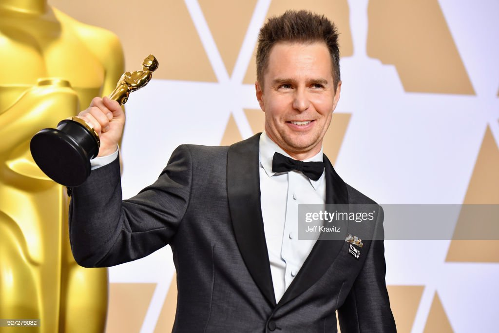 """Sam Rockwell winner of the Best Supporting Actor for """"Three Billboards Outside Ebbing, Missouri"""" poses in the press room during the 90th Annual Academy Awards at Hollywood & Highland Center on March 4, 2018 in Hollywood, California."""