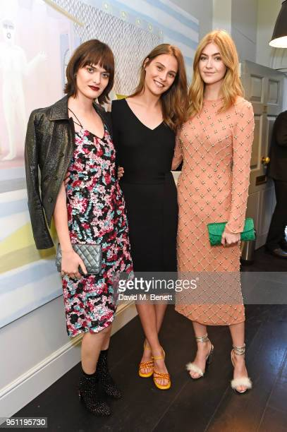 Sam Rollinson Charlotte Wiggins and Eve Delf attend the House Of Osman launch party supported by Peroni Ambra on April 25 2018 in London England